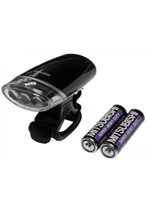 Fanale / Luce Anteriore INFINI LUXO 3 SUPER LED LUCE BIANCA Att. Manubrio Bici