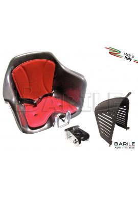 Seggiolino Anteriore Bici Attacco Manubrio Beige / Rosso + Protezione HTP MILU