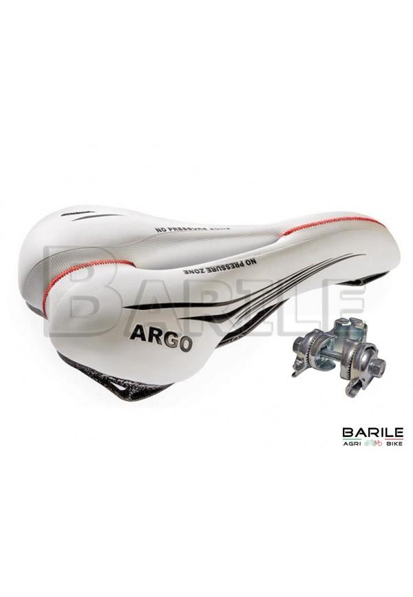 Sella MONTEGRAPPA ARGO Bici MTB - City Anti Prostata Bianco + Morsetto / Attacco